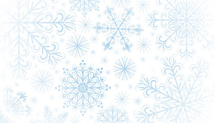 Christmas holiday background. On a white background, openwork, decorative snowflakes. Decor element. Vector illustration.