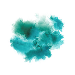 Artistic painting in shades of green and blue. Colorful paint splashes. Modern abstract art.