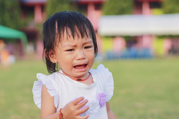 Soft focus. Portrait image of 1 years and 4 months old baby girl. Asian child girl crying when she playing with the toy at the playground. Expression and emotions of baby concept.