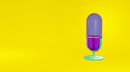 Concept minimalistic metallic purple green microphone cartoon style yellow background. Icon website blog photographer, video, journalist, vloger. 3d rendering