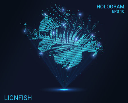 Hologram lionfish. A holographic projection of a lionfish. Flickering energy flux of particles. Scientific design water world.