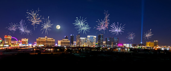 Printed kitchen splashbacks Black Fireworks over the Las Vegas Strip