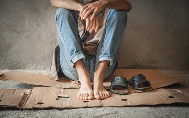 Caucasian homeless man. No money, No work, No home