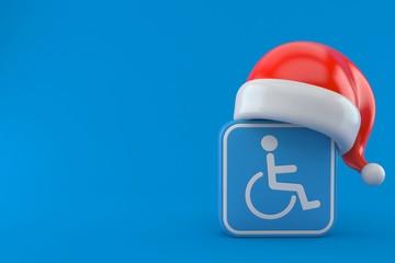 Handicap symbol with santa hat