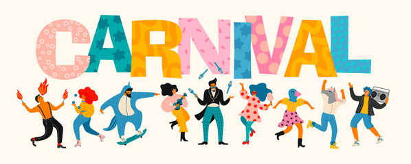 Carnival. Vector illustration of funny dancing men and women in bright modern costumes.