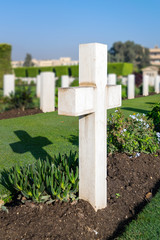 Cross tombstone at Heliopolis Commonwealth Second World War Cemetery, Cairo, Egypt