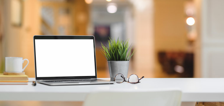 Close-up view of comfortable workplace with mock up laptop computer and tree pot