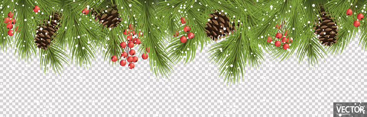 Foto auf AluDibond Künstlich seamless christmas banner concept with fir branches and cones