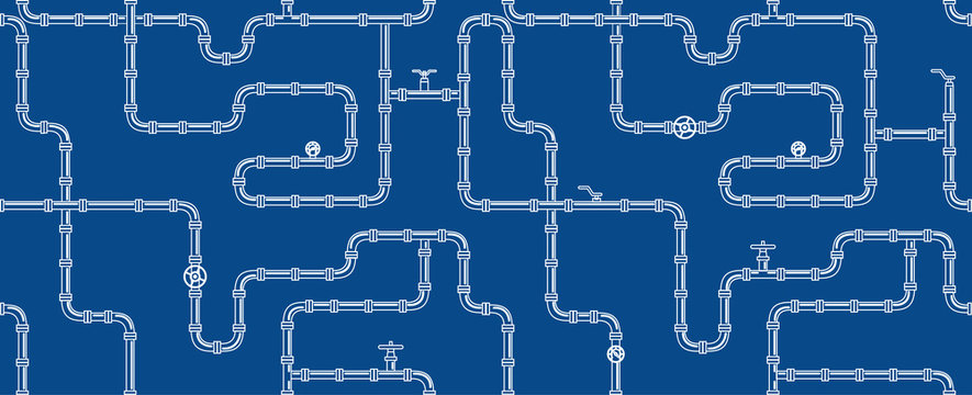 Horizontal industrial seamless pattern. white piping on Blue background. pipes for water, gas, oil. Vector illustration in line art style.