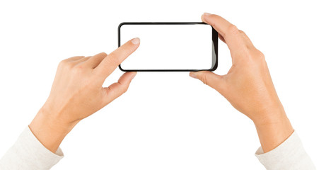 Woman hands taping a smartphone screen isolated on white.