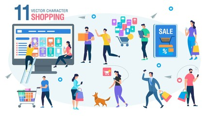 Shopping Online People Characters Flat Vector Set