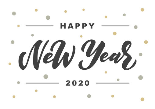 Happy New Year 2020 hand drawn lettering.