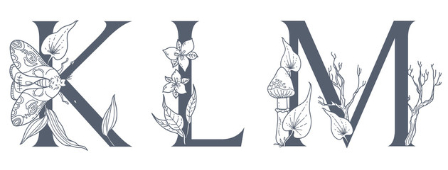 Watercolor Hand Drawn tropic letters monograms or logo. Uppercase G, H, I, with jungle herbal decorations. Palm and monstera leaves, flowers and flamingo.