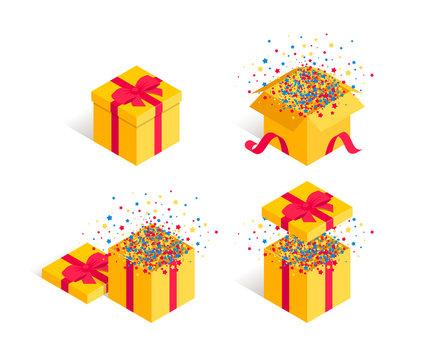 Present opened gift box confetti set