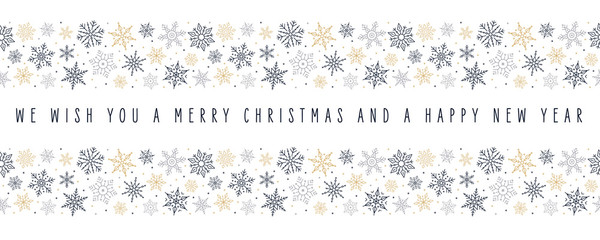 Wall Mural - Christmas snowflakes elements ornaments border decoration card with greeting text seamless pattern isolated white background.