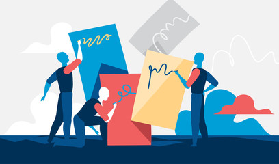 Men writing messages on colorful boards. Vector illustration