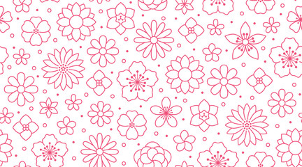 Floral seamless pattern, flower background. Outline flowers - line chamomile, jasmine, daisy. Pink white color simple summer plants Fototapete