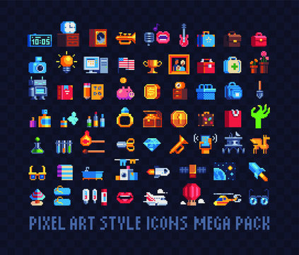Mega big set of pixel art icons. Tools, music, money, bags, jewel and spaceships, Design for stickers, logo, web and mobile app. Isolated vector illustration. 8-bit sprite.