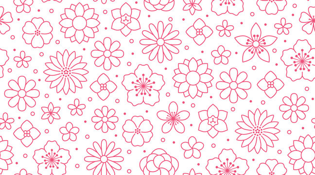 Floral seamless pattern, flower background. Outline flowers - line chamomile, jasmine, daisy. Pink white color simple summer plants