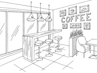 Cafe interior graphic black white sketch illustration vector