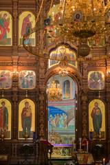 NIZHNY NOVGOROD, RUSSIA - SEPTEMBER 28, 2019: Fragment of the interior of the Alexander Nevsky Cathedral