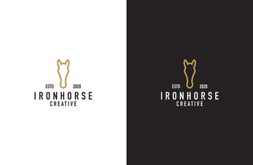 Iron horse line art  logo design vector