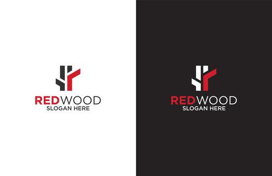 Amazing red wood logo design illustration