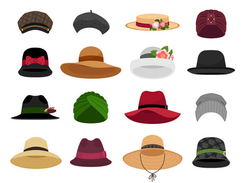 Female hats and caps. Woman vacation cap and hat vector illustrations, bonnet and panama, traditional lady head wearing types, fashion beret and napper accessories