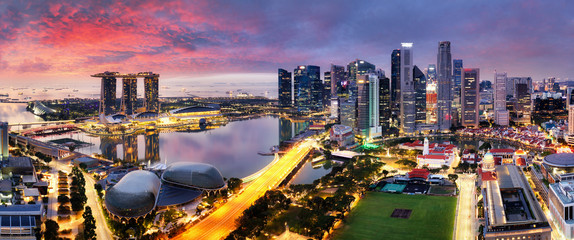 Fotomurales - Singapore city panoranora at sunrise with Marina bay