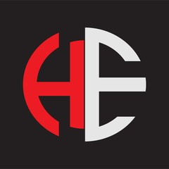 HE Initial Logo design Monogram Isolated on black background