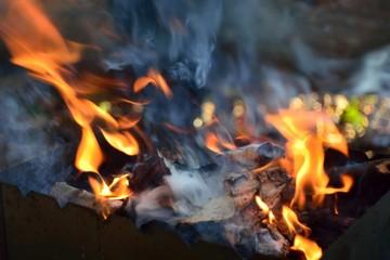 Poster de jardin Feu, Flamme bonfire wood fire flame sparks