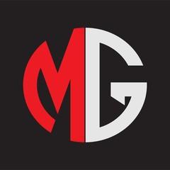 Fototapeta MG Initial Logo design Monogram Isolated on black background obraz