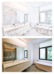 sketch and result of a Bathtub in corian, Faucet and shower