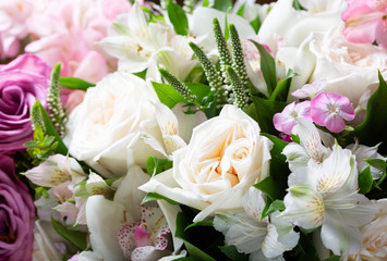 bouquet of various flowers as background
