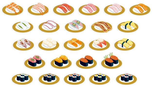 回転寿司アイコン(金皿)