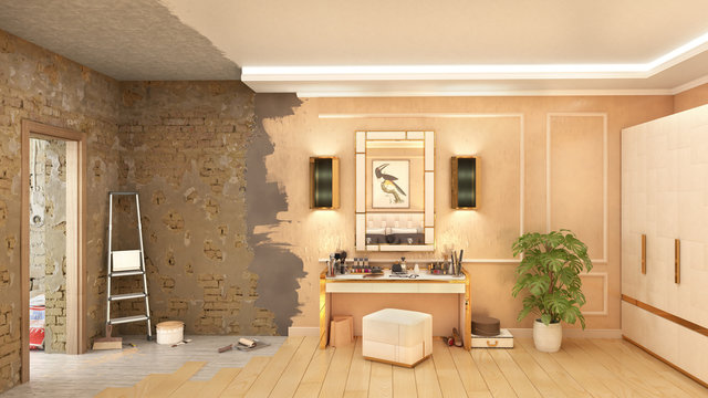 Bedroom interior renewal in process, 3d illustration