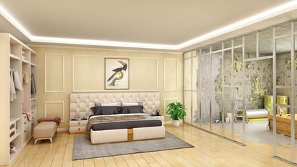 Bedroom interior renewal by making partition, 3d illustration