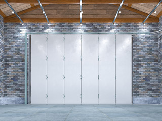 Modern garage interior with sectional gate. 3d illustration