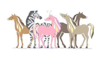 Group of animals. Beautiful cute pink unicorn, zebra and horses. couple of unicorn and zebra in love. isolated image. eps10