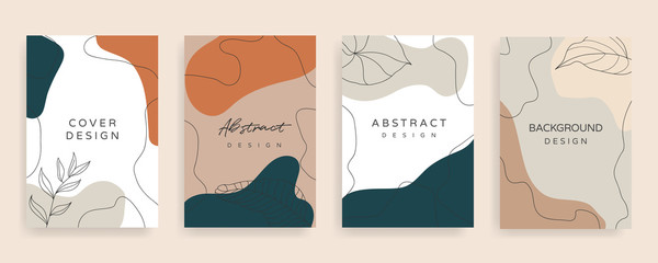 Social media stories and post creative Vector set. Background template with copy space for text and images design by abstract colored shapes,  line arts , Tropical leaves  warm color of the earth tone Fotomurales