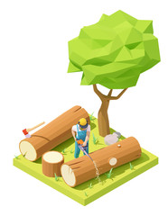 Vector isometric lumberjack in protective gear and mask working in forest. Logging worker or logger cutting tree trunk with chainsaw
