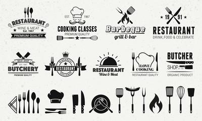 Fototapeta 9 Vintage logo templates and 19 design elements for restaurant business. Butchery, Barbecue, Restaurant emblems templates. Vector illustration obraz