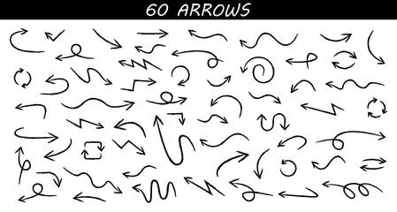 Wall Mural - Arrows big black set icons. Arrow icon. Arrow vector collection. Arrow. Cursor. Doodle Drawing hand arrows. Vector illustration.