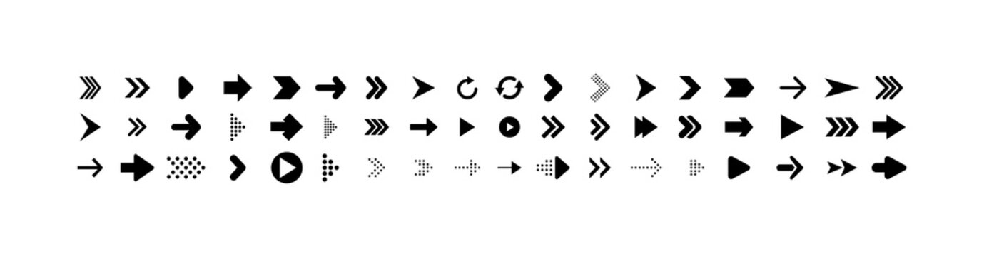 Arrows collection. Big set of Arrows Vector Icons, isolated on white background. Arrow different shapes in modern simple flat style for web design. Vector
