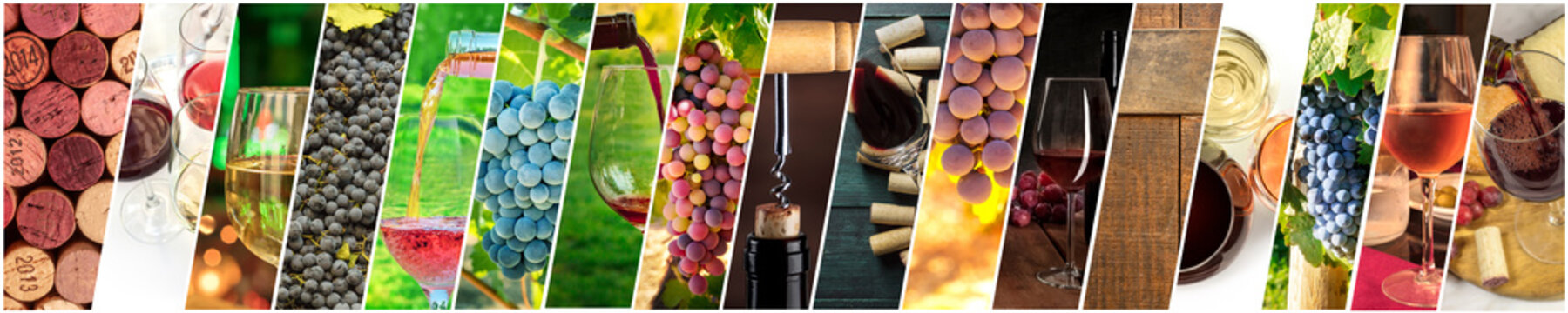Wine Collage. A panorama of many photos of wine glasses, grapes at vineyards, corks, tastings, barrels, a design for a banner or flyer
