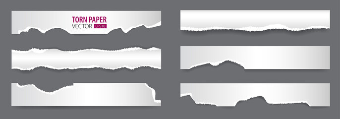 Papers strips with torn edges. Pieces of ripped white paper and soft shadow for web and print.