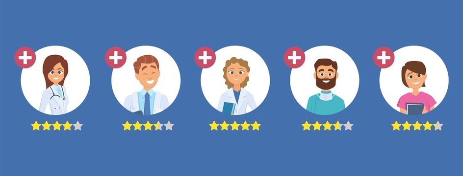 Doctors rating. Five star rating concept. Search good doctor. Medical staff reviews vector illustration. Healthcare doctor rating, physician review