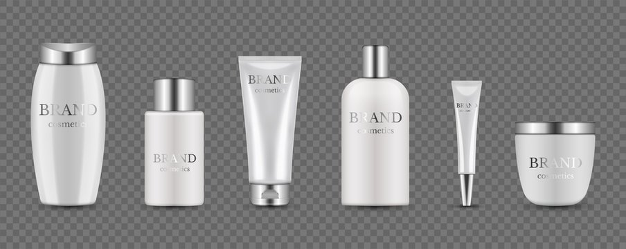 Cosmetic bottles. Realistic silver white packaging for serum, cream, shampoo, balm. Vector cosmetic mockup isolated on transparent background. Illustration beauty lotion, container bottle cosmetic