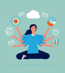 Multitasking female. Business woman leader manager yoga sitting with many goals and deals perfect skill work processes vector concept. Business leader multitasking, work female illustration