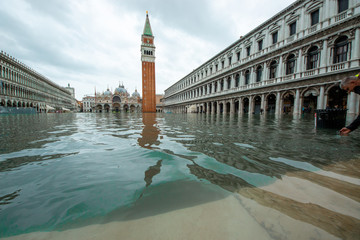 Fototapeta high water in Venice high tide buildings and flooded streets obraz